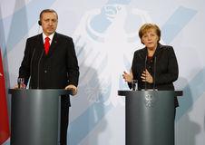 Angela Merkel, Recep Tayyip Erdogan Royalty Free Stock Photos