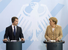 Angela Merkel  and Russian President Dmitry Medved Royalty Free Stock Photography