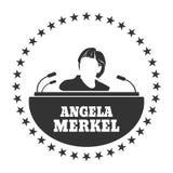 Angela Merkel simple portrait. Germany - Circa, 2017: An illustration of a portrait of german chancellor Angela Merkel portrait. Frame from stars Royalty Free Stock Image