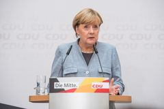 Merkel speaking on the day after national elections, 25th Septem stock image