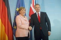 Angela Merkel, Tony Blair image stock