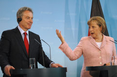 Angela Merkel, Tony Blair Stock Image