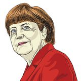 Angela Merkel Vector Caricature Illustration 1 november, 2017 Stock Afbeeldingen