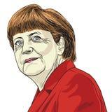 Angela Merkel Vetora Caricature Illustration 1º de novembro de 2017 ilustração do vetor