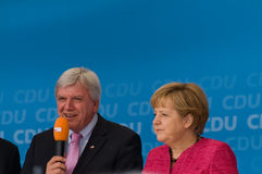 Angela Merkel and Volker Bouffier Stock Photos