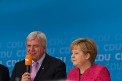 Angela Merkel and Volker Bouffier Stock Photos