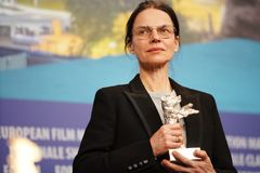 Angela Schanelec attends a press conference stock image
