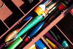 Angelausrüstungskasten mit Zubehör 2 Stockfoto