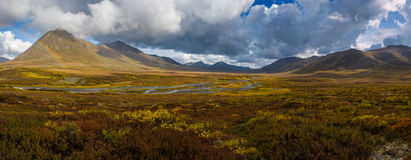 Angelcomb Peak Yukon. Angelcomb peak rises above the southern portion of the Dempster Highway in Yukon Territory Stock Image