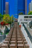 Angeles Flight cable cars and tracks in downtown Los Angeles royalty free stock photography