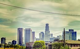 angeles i stadens centrum los skyskrapor Arkivbilder