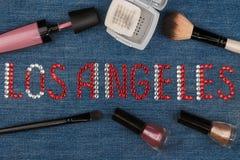 Angeles Los Παγκόσμια κεφάλαια της μόδας Λέξη που ενθέτονται rhinestones και καλλυντικά Στοκ Εικόνα
