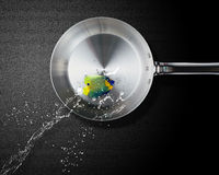 Angelfish jumping to frying pan. Great opportunities, Good hunting or fishing Stock Image