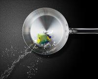 Angelfish jumping to frying pan Stock Image