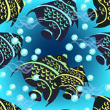 Angelfish seamless pattern on a blue background. vector  Stock Photography