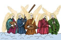 Angeli che giocano gli strumenti musicali Natale Immagini Stock Libere da Diritti