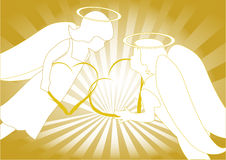 Angeli con cuore Fotografie Stock Libere da Diritti