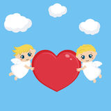 Angeli con cuore rosso illustrazione vettoriale