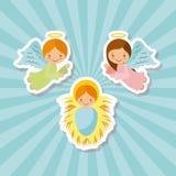 Angeli del fumetto e bambino Gesù illustrazione di stock