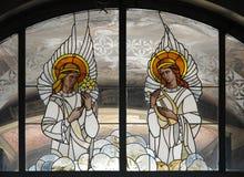 Angeli del vetro macchiato Fotografie Stock