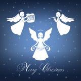 Angeli di natale bianco con le ali e nimbus illustrazione vettoriale