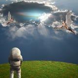 Angeli e cosmonauta Immagini Stock