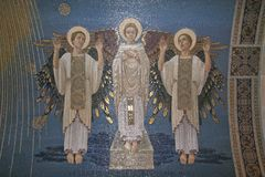 Angeli, mosaico, supporto Tabor, basilica della trasfigurazione fotografia stock libera da diritti