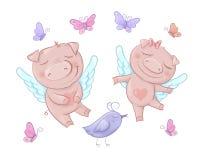 Angeli svegli dei maiali nello stile del fumetto Giorno di biglietti di S. Valentino divertente fissato nel vettore royalty illustrazione gratis