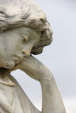 Angelic Angel Sculpture with Depressed Sorrow Expression. Angelic Angel Sculpture with Depressed Sorrowful Expression stock image