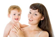 Angelic baby and his mother Stock Photography