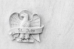 Angelic Eagle - Saint John - Religious Symbol. An angelic bald eagle representing Saint John on the side of the Baker Memorial United Methodist Church in Saint royalty free stock photos