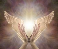 Angelic Golden Healing Energy di Manica immagine stock