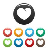 Angelic heart icons set color vector. Angelic heart icon. Simple illustration of angelic heart vector icons set color isolated on white Stock Photos