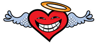 Angelic Heart. A smiling angelic heart with a halo and angel wings Royalty Free Stock Images