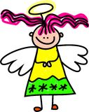 Angelic Kid. Cute whimsical cartoon illustration of a angelic looking little girl Royalty Free Stock Images