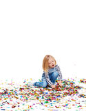 Angelic Kid Playing with Confetti Stock Images