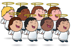 Angelic Kid's Choir. This is a vector illustration of a group of angel children singing Stock Photography