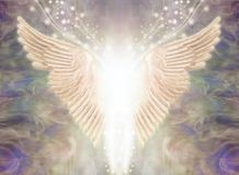 Angelic Light Being Ethereal Background. Pair of Angel Wings with bright white light between and a stream of glittering sparkles flowing upwards against an stock illustration
