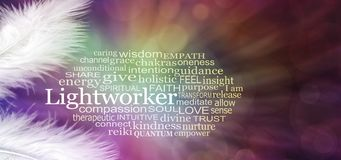 Angelic Lightworker Word Tag Cloud imagens de stock royalty free
