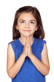 Angelic little girl. Isolated on a over white background stock image