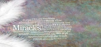 Free Angelic MIRACLES Word Cloud Rustic Banner Stock Photos - 133050823