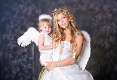Angelic Mother and Son. Pose royalty free stock photo