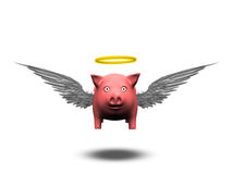 Angelic Pig. Hovers on wings isolated Stock Photos