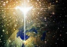 Angelic Star au-dessus de la terre brillant sur Bethlehem illustration stock