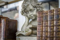 Angelic old books. Angelic statue and old brown books on a bookshelf royalty free stock photography