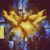 Angelic Wings Abstraction. I8n warm and cool tones royalty free illustration