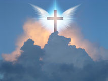 Angelic wings cross. Angelic wings open before cross Royalty Free Stock Photo