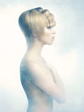 Angelic woman. Picture a beautiful angelic woman in the fog Stock Photos