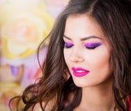 Angelica, κλειστό πρόσωπο υπόβαθρο χρώματος ματιών Στοκ φωτογραφίες με δικαίωμα ελεύθερης χρήσης