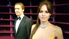 Angelina Jolie και άγαλμα κεριών του Brad Pitt Στοκ φωτογραφία με δικαίωμα ελεύθερης χρήσης